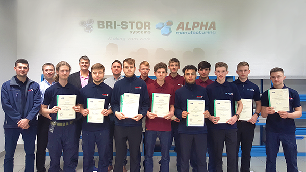 Apprentices with their certificates